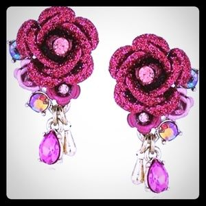 "Betsy Johnson""In Love"" Pink Rose/Crystal Earrings"